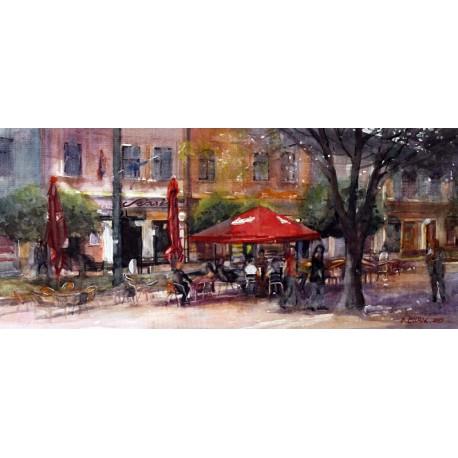 Akvarel-ručne maľovaný originál obraz- Z Prešovských ulíc