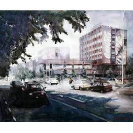 Akvarel-ručne maľovaný originál obraz - Vranov nad Topľou