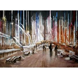 Akvarel-ručne maľovaný originál obraz - Svetla veľkomesta