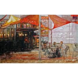 Akvarel-ručne maľovaný originál obraz-Pri pive
