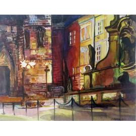 Akvarel-ručne maľovaný originál obraz - Námestie v Chrudimy