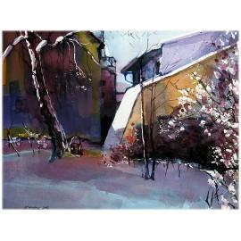 Akvarel-ručne maľovaný originál obraz- jablunkov
