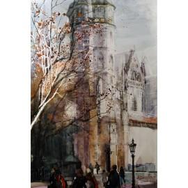 Akvarel-ručne maľovaný originál obraz - Dóm sv Alžbety