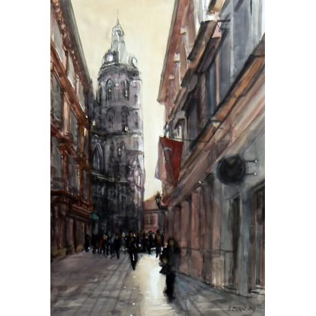 Akvarel- originál obraz -ručne maľovaný - Košice-Alžbetínska