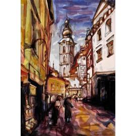 Akvarel-ručne maľovaný originál obraz - Motív z Českého Krumlova