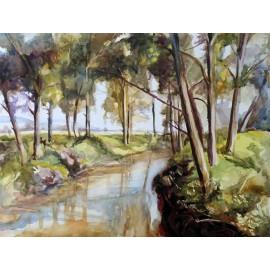 Akvarel-ručne maľovaný originál obraz - Motiv z Čaklova