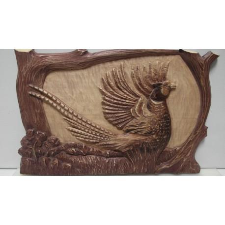 Ručne vyrezávaný drevený obraz-Bažant