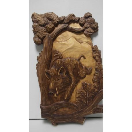 Ručne vyrezávaný drevený obraz-Diviak