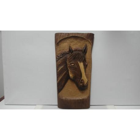 Ručne vyrezávaný drevený obraz - Kôň