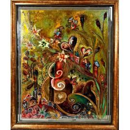 Ručne maľovaný originálny obraz na skle-Krajinka