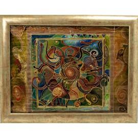 Ručne maľovaný originálny obraz-Hadia mandala na skle