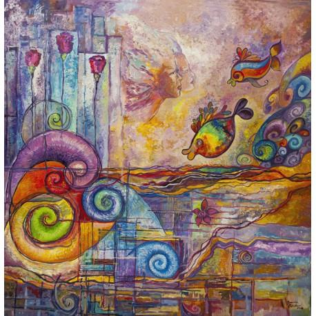 Ručne maľovaný obraz- Lietajúce ryby