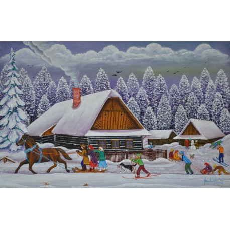 Originálny insitný ručne maľovaný obraz-Ždiarska zima