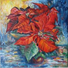 Obraz - Olejomaľba na plátne - Vianočná ruža - Gabriela Žolnová
