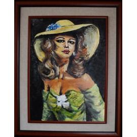 Obraz - Dáma v klobúku- kópia