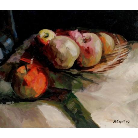 Olejomaľba-Obraz originál - Zátišie-ovocie