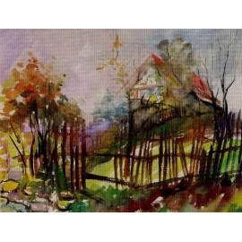 Akvarel-Obraz originál - Z okolia Ostrova