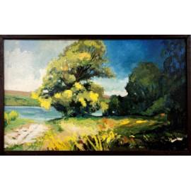 Olejomaľba-Obraz originál -Letná krajina pri Malej Domaši