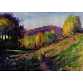Akvarel- Originálny obraz -Jeseň