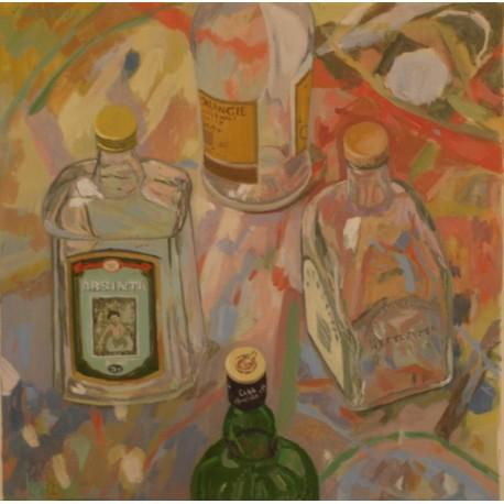 Originálny-obraz-Zátišie-fľaša
