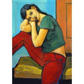 Obraz - Olejomaľba na plátne - Dievča - Mgr. Art. Slavomír Durkaj
