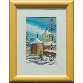 Insitná perokresba-Zasnežený kostol