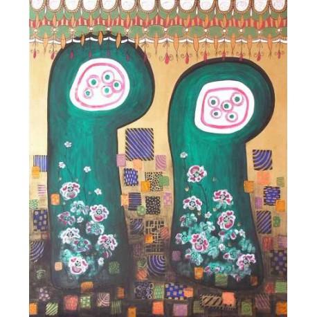 Obraz - Dvaja krásni na prechádzke v záhrade