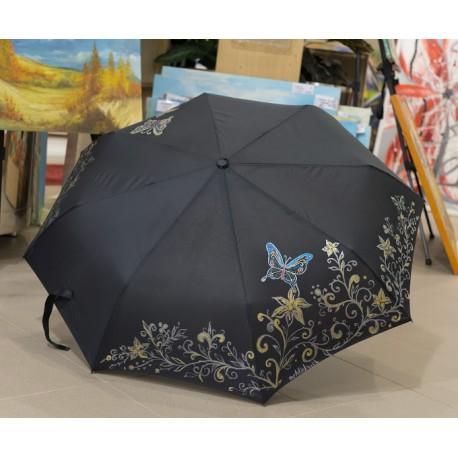 Dáždnik - čierny , skladací, motýľe a kvety