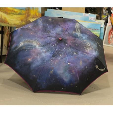 Dáždnik - čierny, skladací, motív vesmíru