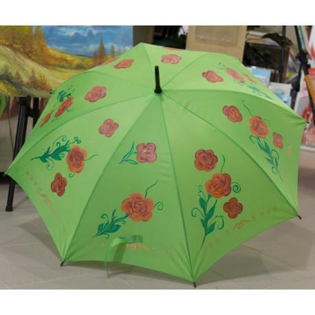 Dáždnik - neonovozelený s dekorom červených ruží