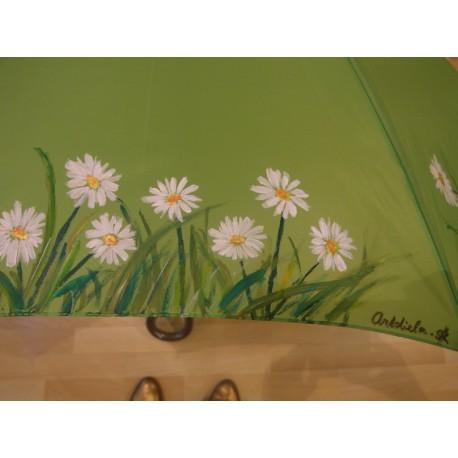 Dáždnik - ručne maľovaný, handmade, zelený