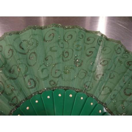 Ručne maľovaný vejár - Zelený 5.