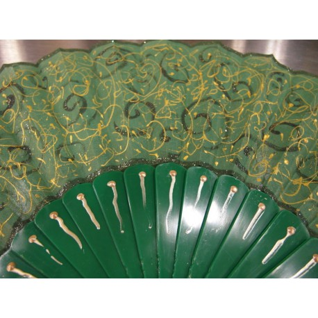 Ručne maľovaný vejár - Zelený 2.