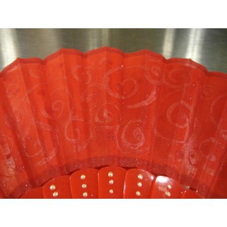 Ručne maľovaný vejár - sýty oranžový 2.