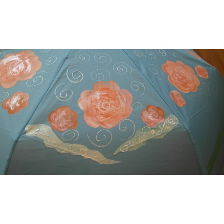 Dáždnik skladací- ručne maľovaný, handmade, svetlo modrý