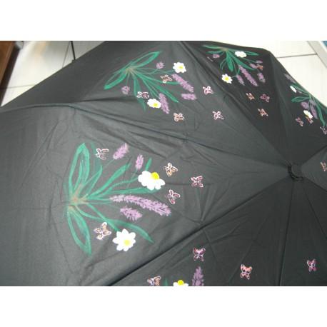 Dáždnik skladací - ručne maľovaný, handmade, čierný