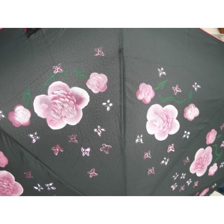 Dáždnik skladací- ručne maľovaný, handmade, čierný
