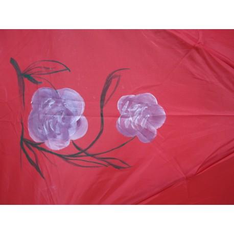 Dáždnik skladací- ručne maľovaný, červený