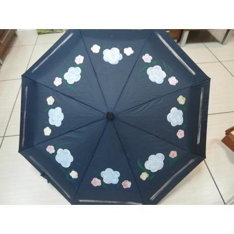Dáždnik skladací- ručne maľovaný , tmavomodrý