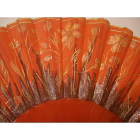 Vejár oranžový - ručne maľovaný