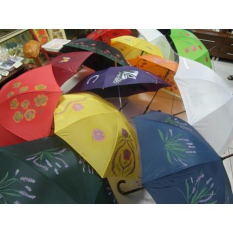 Dáždnik - ručne maľovaný,handmade, zelený