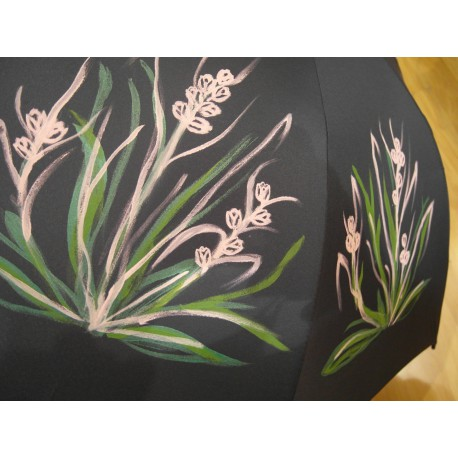 Dáždnik - ručne maľovaný, handmade, čierný