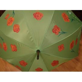 Dáždnik - ručne maľovaný , handmade, zelený
