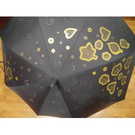 Dáždnik - ručne maľovaný , handmade, čierný
