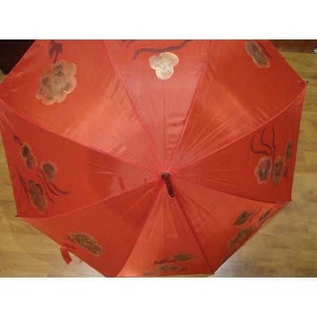 Dáždnik - ručne maľovaný ,handmade, červený