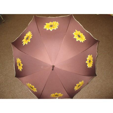 Dáždnik - ručne maľovaný -handmade, hnedý