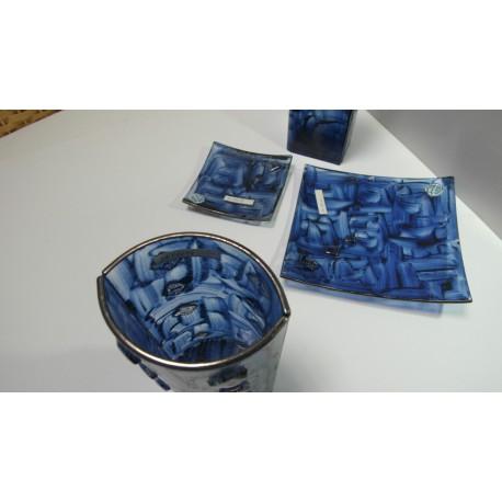 sklenená misa, sklenená váza - ručná práca