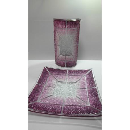 Sklenená misa, váza, tanierik - ručná práca