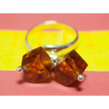 Strieborný prsteň s Jantárom a tyrkysom - Ag925