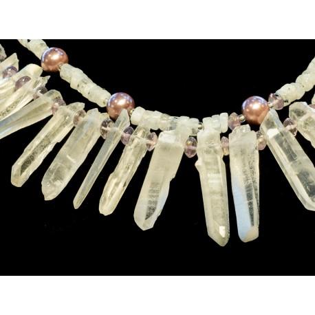 Horský krištál.mesačný kameň, ametyst,shell perla - náhrdelník, náušnice